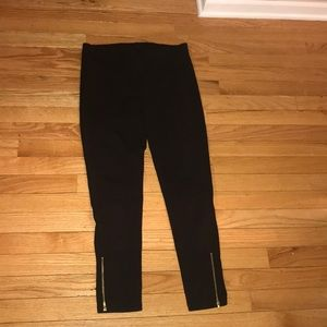 J. Crew black leggings with gold zippers size S